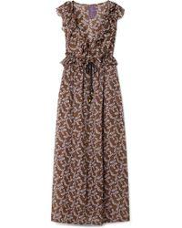 Yvonne S - Marie-antoinette Ruffled Floral-print Linen Maxi Dress - Lyst