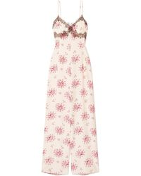 Morgan Lane - Bambi Lace-trimmed Printed Silk-charmeuse Jumpsuit - Lyst