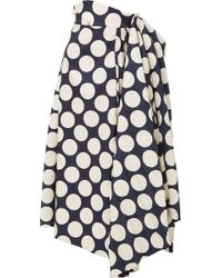 Awake - Draped Pleated Polka-dot Twill Skirt - Lyst