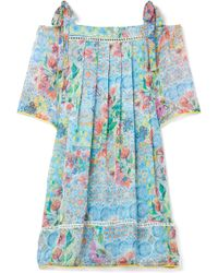 Matthew Williamson - Deia Fiesta Cold-shoulder Printed Silk-chiffon Dress - Lyst