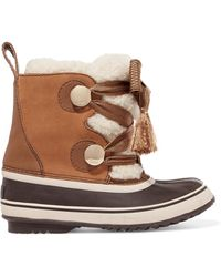 Chloé - + Sorel Crosta Leather-trimmed Suede And Shearling Boots - Lyst
