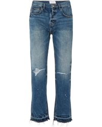 Current/Elliott - The Throwback Original Hoch Sitzende Jeans Mit Geradem Bein In Distressed-optik - Lyst