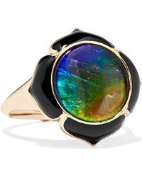 Noor Fares - Muladhara 18-karat Gold, Enamel, Ammolite And Ruby Ring - Lyst