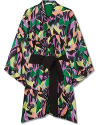 Olivia Von Halle | Mimi Printed Silk-satin Robe | Lyst