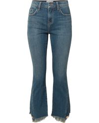 Current/Elliott - The Fan Kick Cropped Frayed Mid-rise Flared Jeans - Lyst
