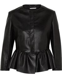 Stella McCartney | Cropped Faux Textured-leather Peplum Jacket | Lyst