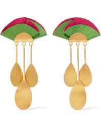 Katerina Makriyianni - Sunset Gold-tone And Silk Earrings - Lyst