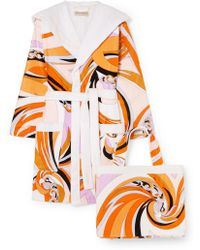 Emilio Pucci - Hooded Printed Cotton-terry Robe - Lyst