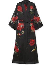 Meng - Printed Silk-satin Robe - Lyst