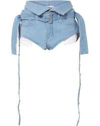Marques'Almeida - Belted Fold-over Denim Shorts - Lyst