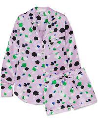 Olivia Von Halle - Alba Printed Silk-satin Pajama Set - Lyst