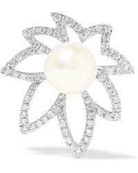 Yvonne Léon - 18-karat White Gold, Diamond And Pearl Earring - Lyst