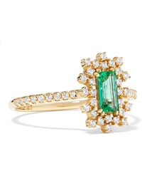 Suzanne Kalan - 18-karat Gold, Diamond And Emerald Ring - Lyst