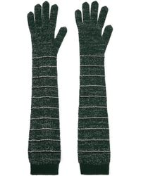 Prada - Striped Metallic Wool-blend Gloves - Lyst