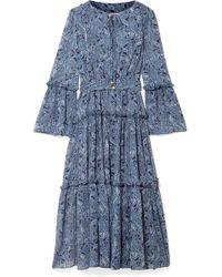 MICHAEL Michael Kors - Tiered Printed Chiffon Midi Dress - Lyst