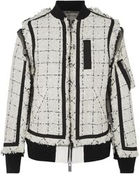 Sacai - Grosgrain And Chiffon-trimmed Tweed Bomber Jacket - Lyst