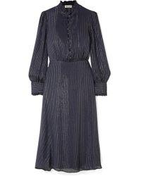 Paul & Joe - Ruffle-trimmed Metallic Striped Silk-blend Chiffon Midi Dress - Lyst