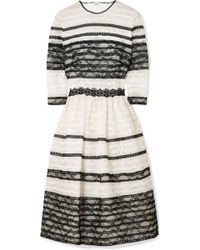 Costarellos - Lace-trimmed Embroidered Tulle Dress - Lyst