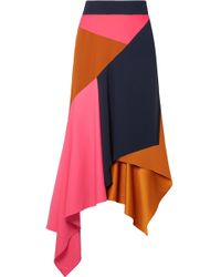 Peter Pilotto - Asymmetric Paneled Cady And Wool-blend Skirt - Lyst