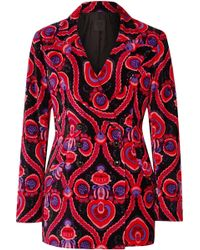 Anna Sui - Arabesque Double-breasted Printed Cotton-velvet Blazer - Lyst