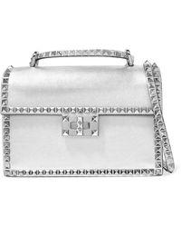 Valentino - Garavani The Rockstud No Limit Metallic Textured-leather  Shoulder Bag - Lyst 45a76767babc9