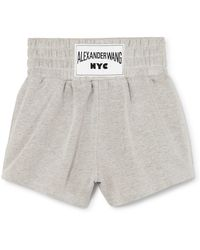 T By Alexander Wang - Appliquéd Cotton-blend Terry Shorts - Lyst