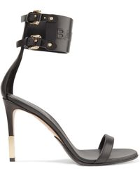 Balmain - Logo-embossed Buckled Leather Sandals - Lyst