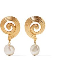 Oscar de la Renta - Gold-plated Faux Pearl Clip Earrings - Lyst