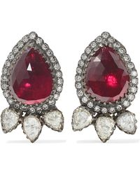 Amrapali - 18-karat Gold, Sterling Silver, Diamond And Ruby Earrings - Lyst