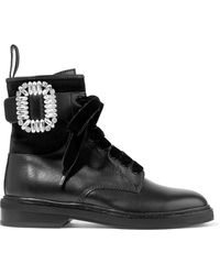 Roger Vivier - Viv' Rangers Strass Leather Boots - Lyst
