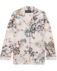 Meng - Floral-print Silk-satin Pyjama Shirt - Lyst