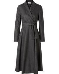 Max Mara - Pinstriped Wool-blend Wrap Dress - Lyst