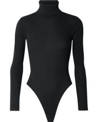 RE/DONE - Ribbed Stretch-cotton Jersey Turtleneck Thong Bodysuit - Lyst
