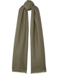 Brunello Cucinelli - Sequin-embellished Cashmere And Silk-blend Scarf - Lyst