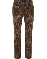 T By Alexander Wang - Leopard-print Mid-rise Skinny Jeans - Lyst