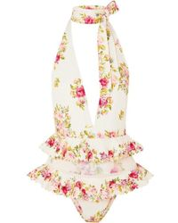 Zimmermann Honor Tulle-trimmed Floral-print Halterneck Swimsuit