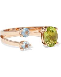 Delfina Delettrez | 18-karat Rose Gold, Peridot And Aquamarine Ring | Lyst