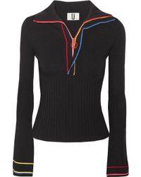 Topshop Unique - Striped Stretch-knit Top - Lyst
