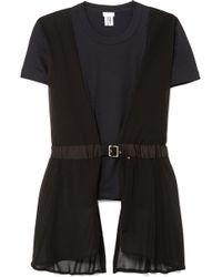 Noir Kei Ninomiya - Buckle-detailed Georgette-paneled Cotton-jersey T-shirt - Lyst