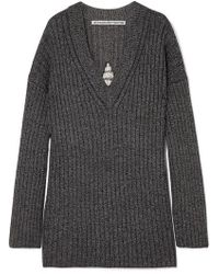 Alexander Wang - Dream Catcher Embellished Cutout Ribbed Wool-blend Sweater - Lyst