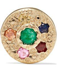 Jennie Kwon - Halo 14-karat Gold, Emerald And Sapphire Earring - Lyst