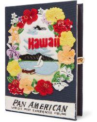Olympia Le-Tan - Pochette En Toile À Broderies Et À Appliqués Hawaii Pan American - Lyst