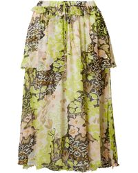 Opening Ceremony - Faux Pearl-embellished Printed Crinkled-chiffon Skirt - Lyst