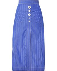Ellery - Aggie Embellished Pinstriped Cotton-poplin Midi Skirt - Lyst