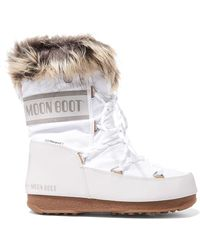 Moon Boot - Monaco Faux Fur-lined Shell And Faux Leather Snow Boots - Lyst