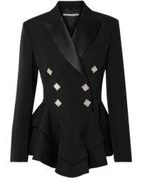Alessandra Rich - Crystal-embellished Satin-trimmed Wool-crepe Peplum Blazer - Lyst