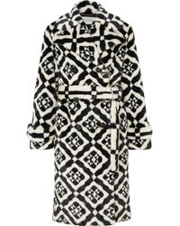 Mary Katrantzou - Stokes Coat Black/white Tiles - Lyst