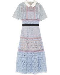 Self-Portrait - Cape-effect Guipure Lace Midi Dress - Lyst