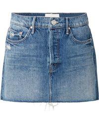 Mother - The Vagabond Distressed Denim Mini Skirt - Lyst