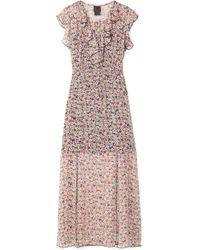 Anna Sui - Scattered Flowers Ruffled Floral-print Silk-chiffon Midi Dress - Lyst